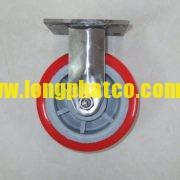 Bánh xe đẩy càng Inox 304 PU đỏ 150 cố định