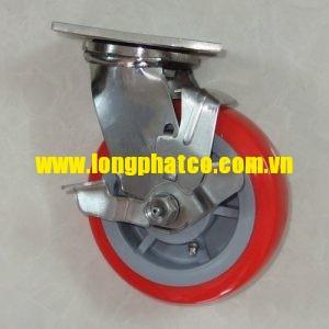 Bánh xe đẩy càng Inox 304 PU đỏ 150 xoay khóa