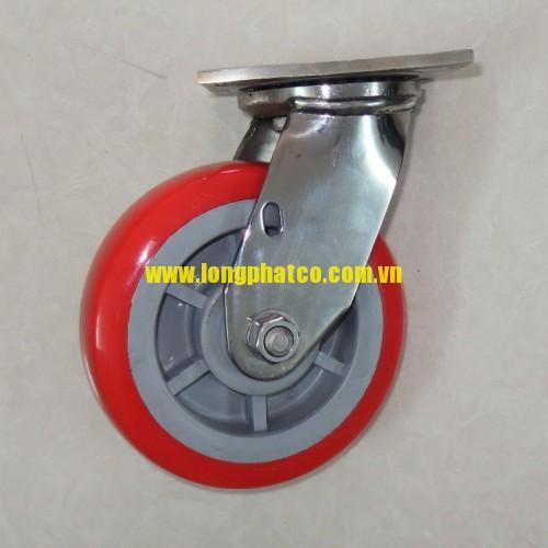 Bánh xe đẩy càng Inox 304 PU đỏ 150 xoay