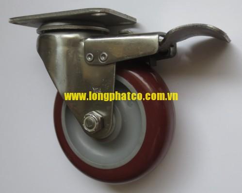 Bánh xe đẩy càng Inox 304 PU xoay khóa