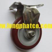 Bánh xe đẩy càng Inox 304 PU cố định
